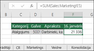 Excel 3D lapas atsauce formulā