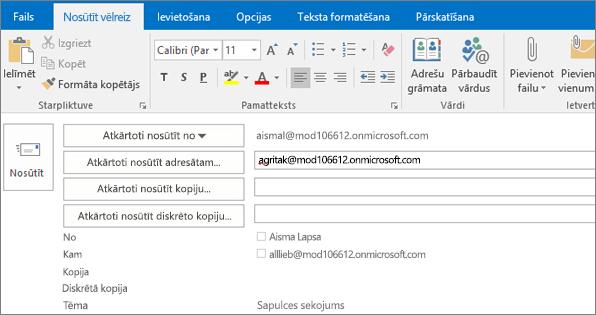 Attēlā redzams e-pasta ziņojumu opciju sūtīt vēlreiz. Atkārtoti nosūtīt lauku adresāta adresi ir ir nodrošinājusi automātiskās pabeigšanas līdzekli.