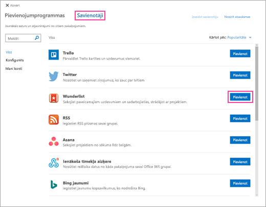 Ekrānuzņēmums ar programmā Outlook tīmeklī pieejamajiem pievienotajiem pakalpojumiem