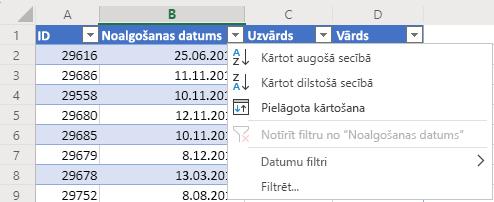 Tabula ar 4 kolonnām: ID, Nolīgšanas datums, Uzvārds un Vārds. Automātiskā filtra izvēlne ir atvērta kolonnai Nolīgšanas datums
