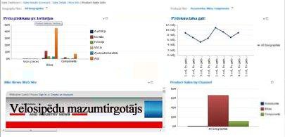 PerformancePoint informācijas panelis ar 2 lietotiem filtriem