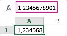 Skaitlis darblapā parādās noapaļots, bet formulu joslā — pilns