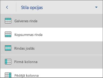 Komanda Stila opcijas, atlasīta opcija Galvenes rinda