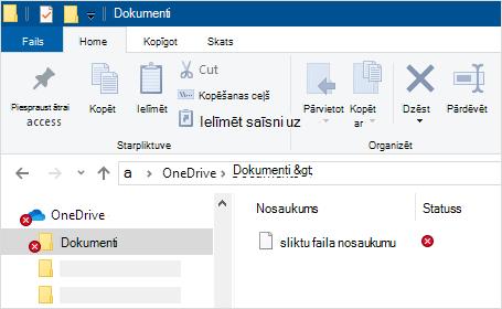 Failu pārlūks, kurā tiek rādīta OneDrive sinhronizācijas kļūda