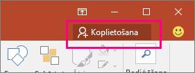 Tiek rādīta poga Kopīgot PowerPoint2016 lentē