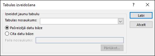 Programmas Access dialoglodziņā Tabulas izveidošana varat atlasīt opcijas savam tabulas veidošanas vaicājumam.