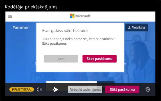 Ekrāns, kurā redzams, ka jums ir gatavs nosūtīšanai live ar savu pasākumu