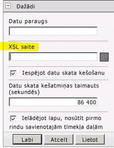 XSLsaites rekvizīts tīmekļa daļas izvēlnē