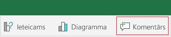 Komentāra pievienošana programmā Excel darbam ar Android