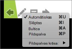 Attēlā redzams kursors izmantot slaidrādē pieejamās opcijas. Opcijas ir automātiskā, slēpts, bultiņa, pildspalva un pildspalvas krāsa.