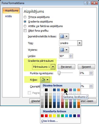 Lai lietotu pielāgotu gradienta krāsu shēmu, atlasiet gradienta pārtraukumu un pēc tam izvēlieties krāsu.