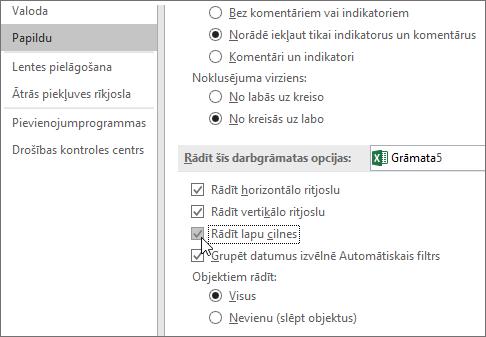 Rādīt lapas cilnes Excel opcijās