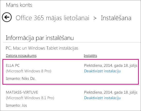 Lapas Instalēšana ekrānuzņēmums ar datora nosaukumu un atlasītu tās personas vārdu, kas instalēja Office.