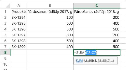 Ar pogu Automātiskā summa automātiski noteikts šūnu diapazons