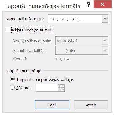 Dialoglodziņš Lappušu numerācijas formāts