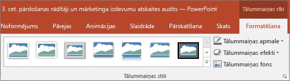 Rāda dažādas tālummaiņas stili un efekti var izvēlēties programmas PowerPoint cilnes formāts.