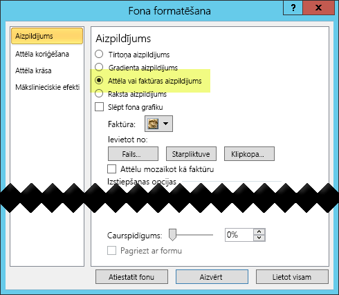 Dialoglodziņš Fona formatēšana