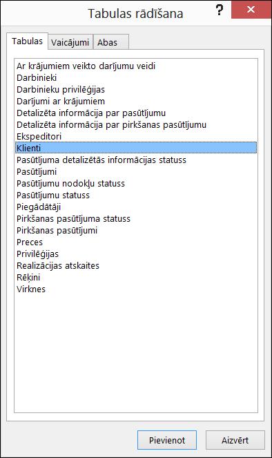 Rādīt tabulu dialogu programmā Access, parādot tabulu nosaukumus