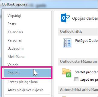 Noklikšķiniet uz Fails> Opcijas> Papildu