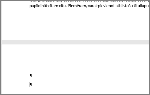 Tukšas rindkopas programmas Word lappuses augšdaļā
