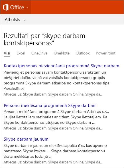 Ekrānuzņēmums ar Skype darbam kontaktpersonu meklēšanas rezultātiem Office atbalsta vietnē.