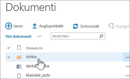 SharePoint 2016 dokumentu bibliotēkā, kurā iezīmēta mape