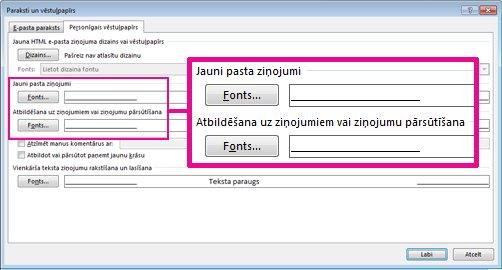 Dialoglodziņa Paraksti un vēstuļpapīrs komanda Fonts