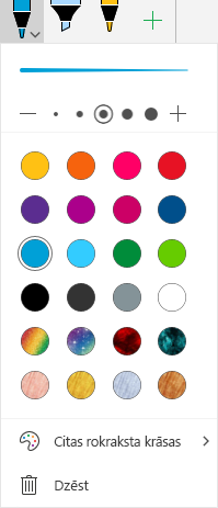 Rokraksta krāsas un efekti zīmējumam ar rokrakstu sistēmā Office operētājsistēmā Windows Mobile