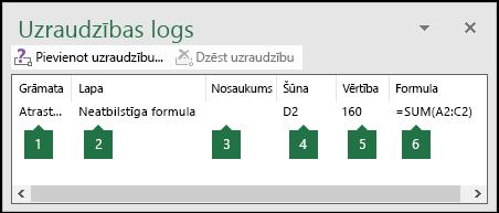 Uzraudzības logs ļauj viegli pārraudzīt darblapā izmantotās formulas