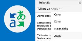 E-pasta ziņojuma lasīšana izvēlētajā valodā