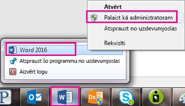 Ar peles labo pogu noklikšķiniet uz Word ikonas un pēc tam ar peles labo pogu noklikšķiniet uz vārda, vēlreiz, lai palaistu programmu kā administratoram.