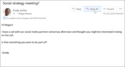 Atbildēšana uz e-pasta ziņojumu programmā Outlook