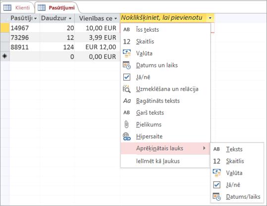 Jauna lauka pievienošana, izmantojot datu tipu Aprēķinātais lauks