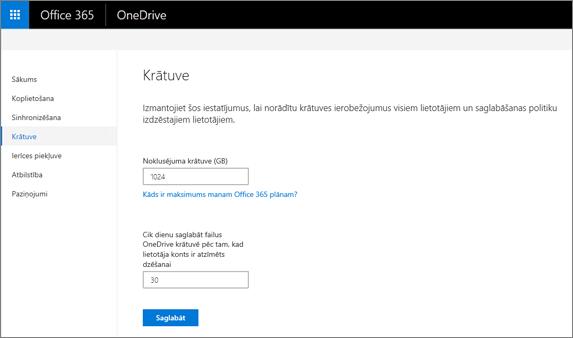 Cilnes krātuves OneDrive administrēšanas centrā