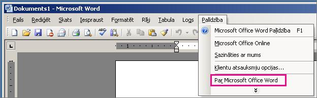 Palīdzība > Par Microsoft Office Word programmā Word 2003
