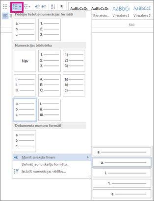 Word2010 saraksta līmeņa mainīšana