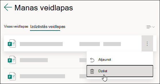 Veidlapas dzēšana Microsoft Forms cilnē Izdzēstās veidlapas.