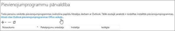 Lietojumprogrammu pārvaldības lapas sadaļas, kur tiek norādītas instalētās lietojumprogrammas, kā arī saite, lai atrastu citas pievienojumprogrammas Office veikalā, ekrānuzņēmums.