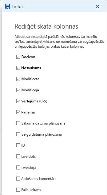 Dokumentu bibliotēkas rediģēšanas saraksta skats