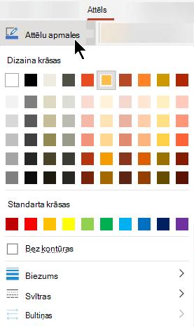 Izvēlnē attēla apmales ir pieejamas krāsu, biezuma un līnijas stila opcijas.
