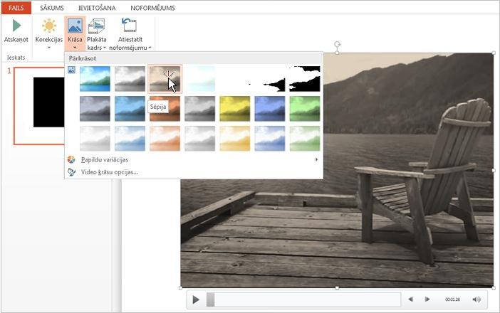 Videomateriāla krāsas maiņa