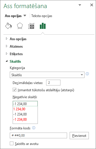 Number format section in Axis Options