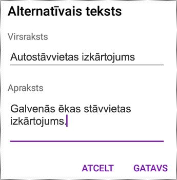 Alternatīvā teksta pievienošana attēliem programmā OneNote darbam ar Android