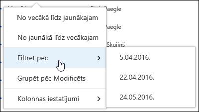 Filtrēšana pakalpojumā Office 365 dokumentu bibliotēkas skatu