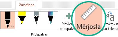 Mērjoslas šablons ir PowerPoint2016 lentes cilnē Zīmēšana.