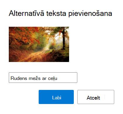Pievienojiet alternatīvo tekstu attēliem programmā Outlook.