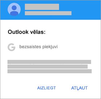 Pieskarieties pie Atļaut, lai Outlook piešķirtu bezsaistes piekļuvi.