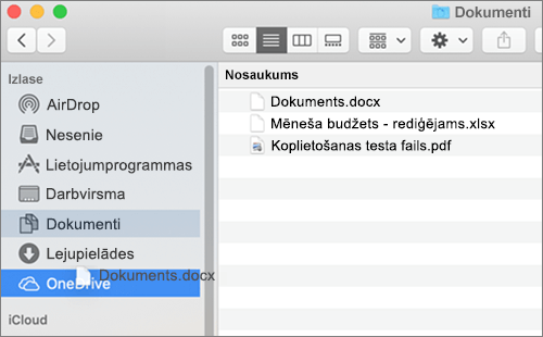 Mac Finder window showing drag-and-drop to move files