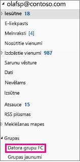 Outlook 2016 navigācijas rūts ar iezīmētu grupu
