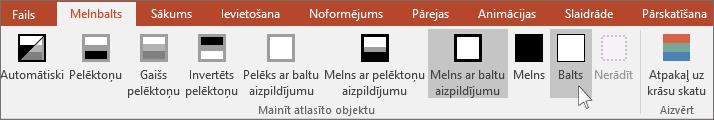 parāda atlasītā objekta maiņas izvēlni programmā PowerPoint